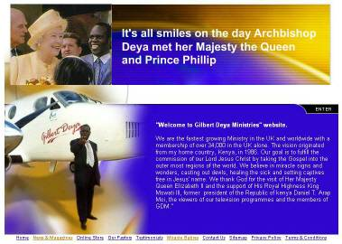 Front page, Gilbert Deya Ministries Website, last accessed Dec. 12, 2004