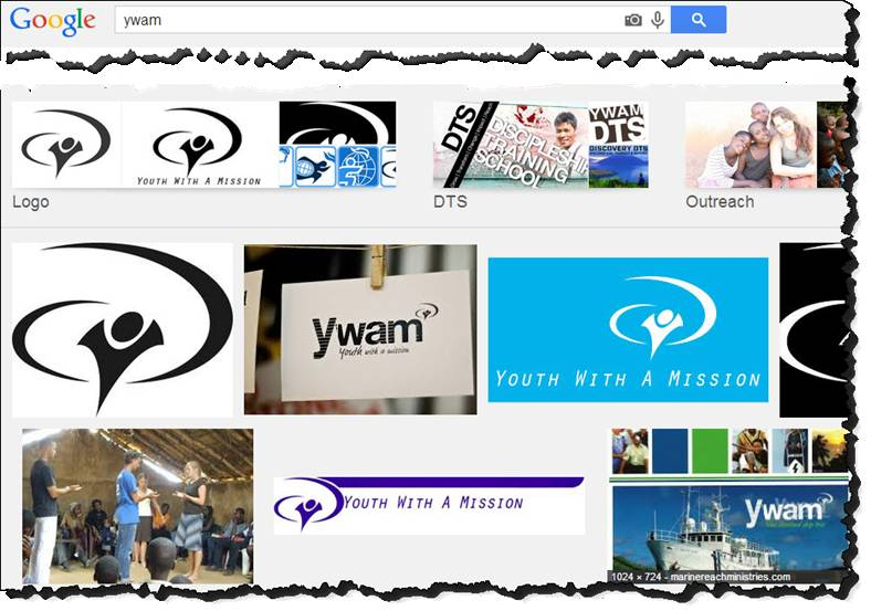 Screenshot of a Google image search for YWAM